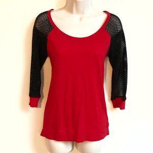 🆕 Express high low 3/4 sleeve red raglan top